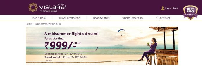 Vistara mid summer sale