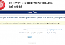 RRB NTPC 2nd Stage Scorecard