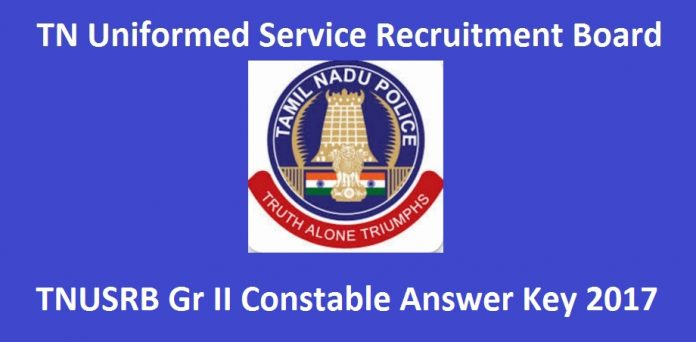 TNUSRB Police Constable Exam Answer Key