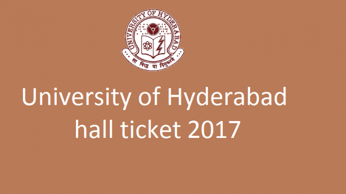 University of Hyderabad Hall Ticket 2017