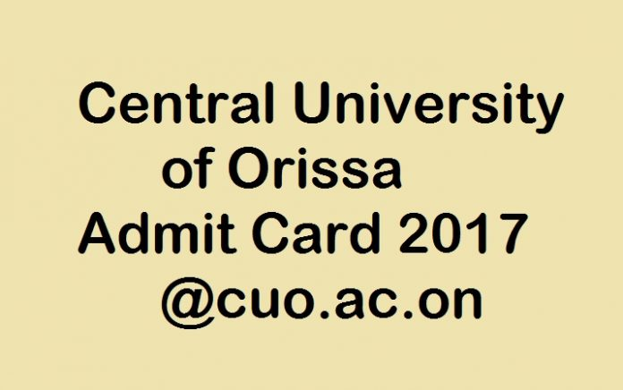 Orissa Admit Card 2017