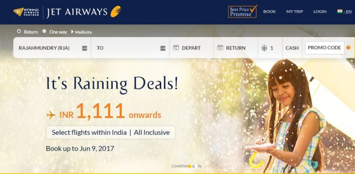 Jet Airways Raining Deals