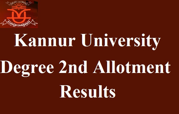 Kannur University Degree Second Allotment Results