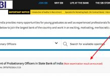 State Bank of India po results