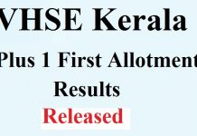 Kerala Plus One First Allotment Results