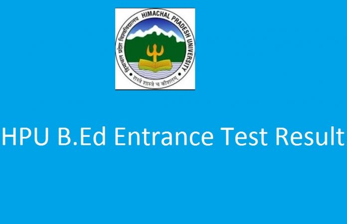 HPU B.Ed Entrance Exam Results