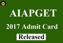 AIAPGET 2017 Admit Card