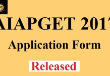 AIAPGET 2017 Application Form