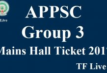 APPSC Group 3 Mains Hall Ticket 2017