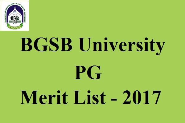 BGSB University PG Merit List 2017