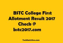 BSTC College First Allotment Result 2017