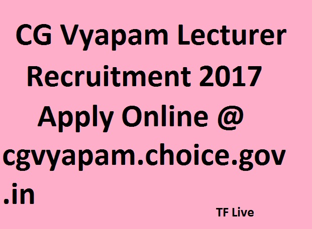 CG Vyapam Lecturer Recruitment