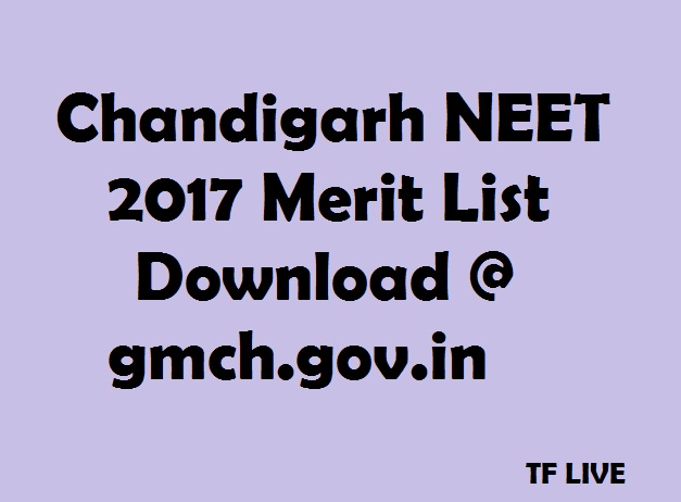 Chandigarh NEET 2017 Merit List