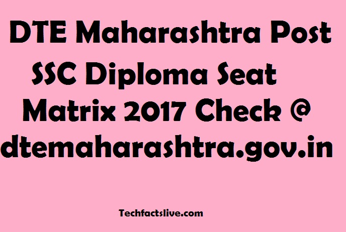 DTE Maharashtra Post SSC Diploma Seat Matrix 2017