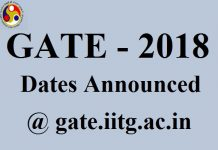 GATE 2018 Important Dates