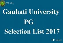 Gauhati University PG Selection List 2017