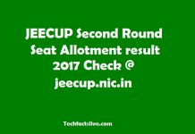 JEECUP Second Seat Allotment Result 2017