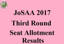 JoSAA 2017 Third Round Seat Allotment Results