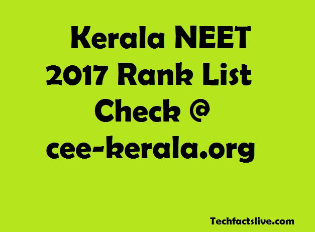 Kerala NEET 2017 Rank List