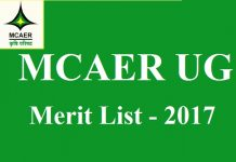 MCAER UG Final Merit List 2017