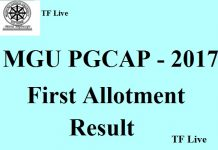 MGU PGCAP 2017 First Allotment Result (1)