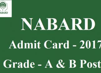 NABARD Admit Card 2017