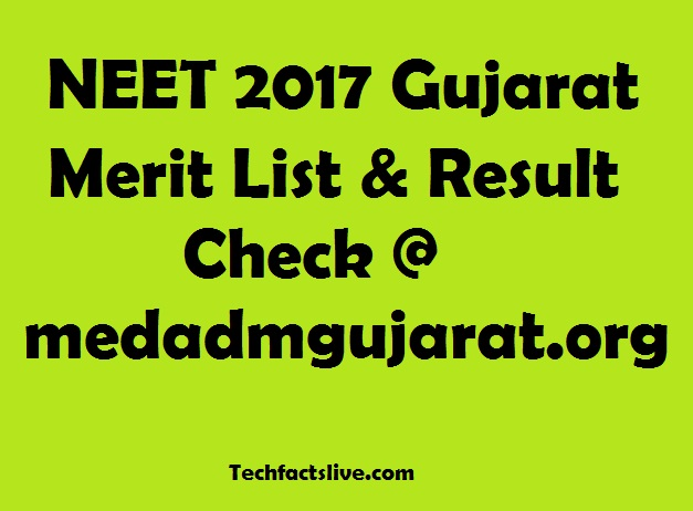 Gujarat NEET 2017 Merit List