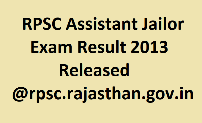 RPSC Assistant Jailor Exam Result