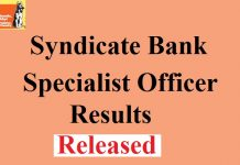 Syndicate Bank SO Results 2017