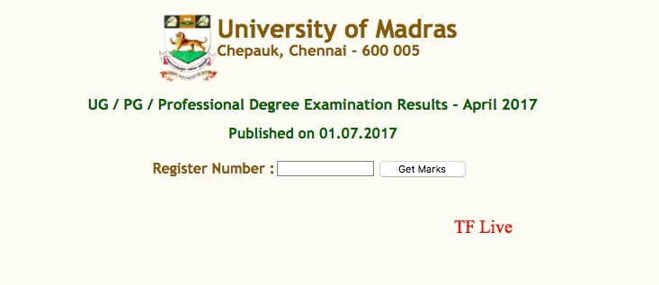 University of Madras Examination Results