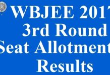 WBJEE 2017 3rd Round Seat Allotment Results