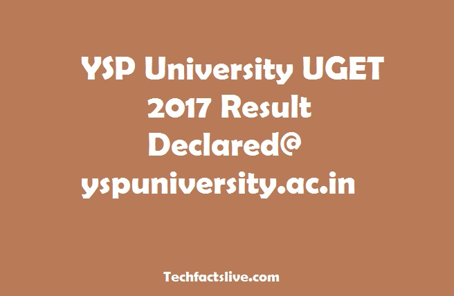 YSP University UGCET Result 2017