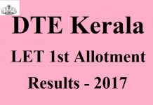 DTE Kerala LET First Allotment Results 2017