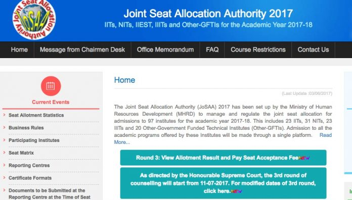 josaa.nic.in 3rd round seat allotment results