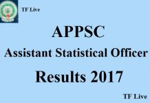 APPSC Assistant Statistical Officer Results 2017