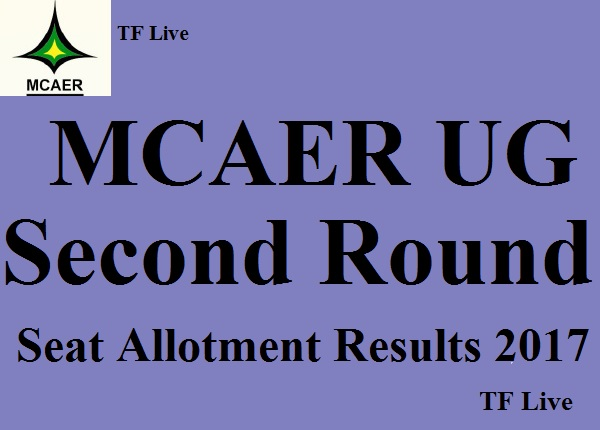 MCAER UG Second Round Seat Allotment Results 2017