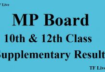 MP Board 10th & 12th Class Supplementary Results 2017