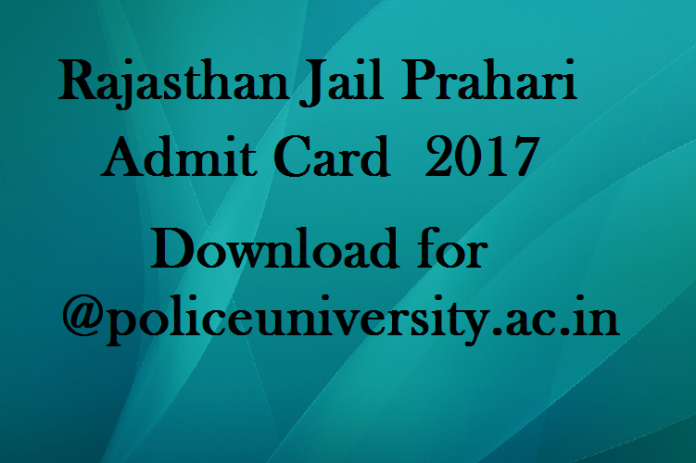 Rajasthan Jail Prahari Admit Card