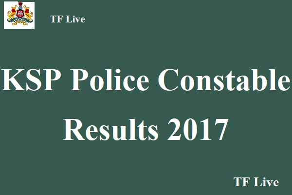 KSP Police Constable Results 2017