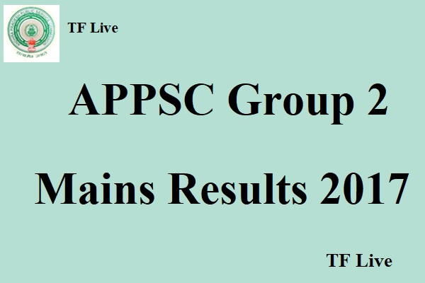 APPSC Group 2 Mains Results 2017