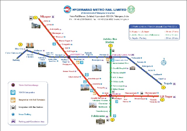 Hyderabad Metro train Map